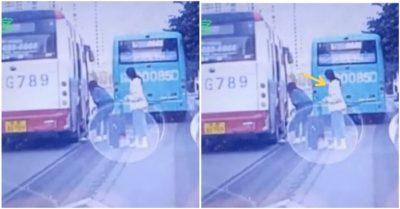 Bé gái bị kéo lê một đoạn sau khi bước xuống xe buýt, sự nhanh trí của người đi đường đã cứu mạng em
