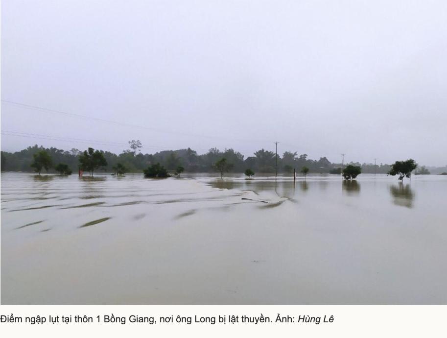 Nước lũ chảy xiết tại thôn 1 Bồng Giang, nơi ông Long bị lật thuyền.