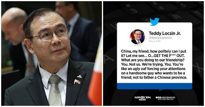 Ngoại trưởng Philippines Teodoro Locsin Jr. hôm 3/5/2021 chửi thề Trung Quốc về Biển Đông (ảnh: Rappler/Twitter).