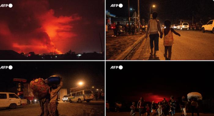 Núi lửa phun trào ở Congo hôm 22/5/2021 (ảnh chụp màn hình Twitter).