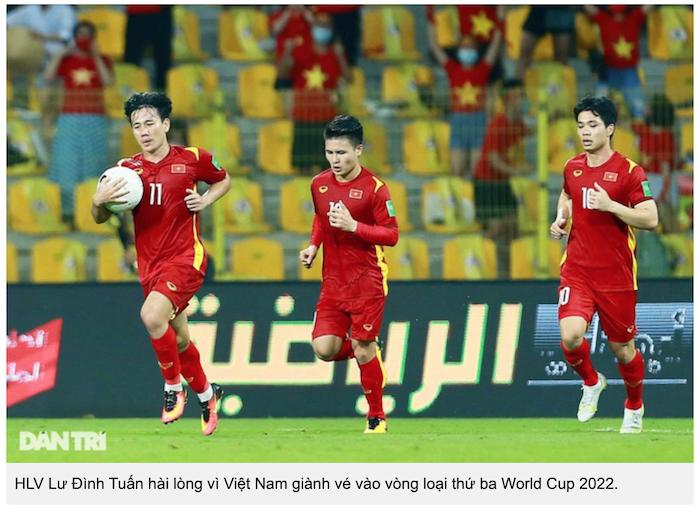 Tuyển Việt Nam làm nên lịch sử tại vòng loại World Cup 2022 (ảnh chụp màn hình Dân Trí).